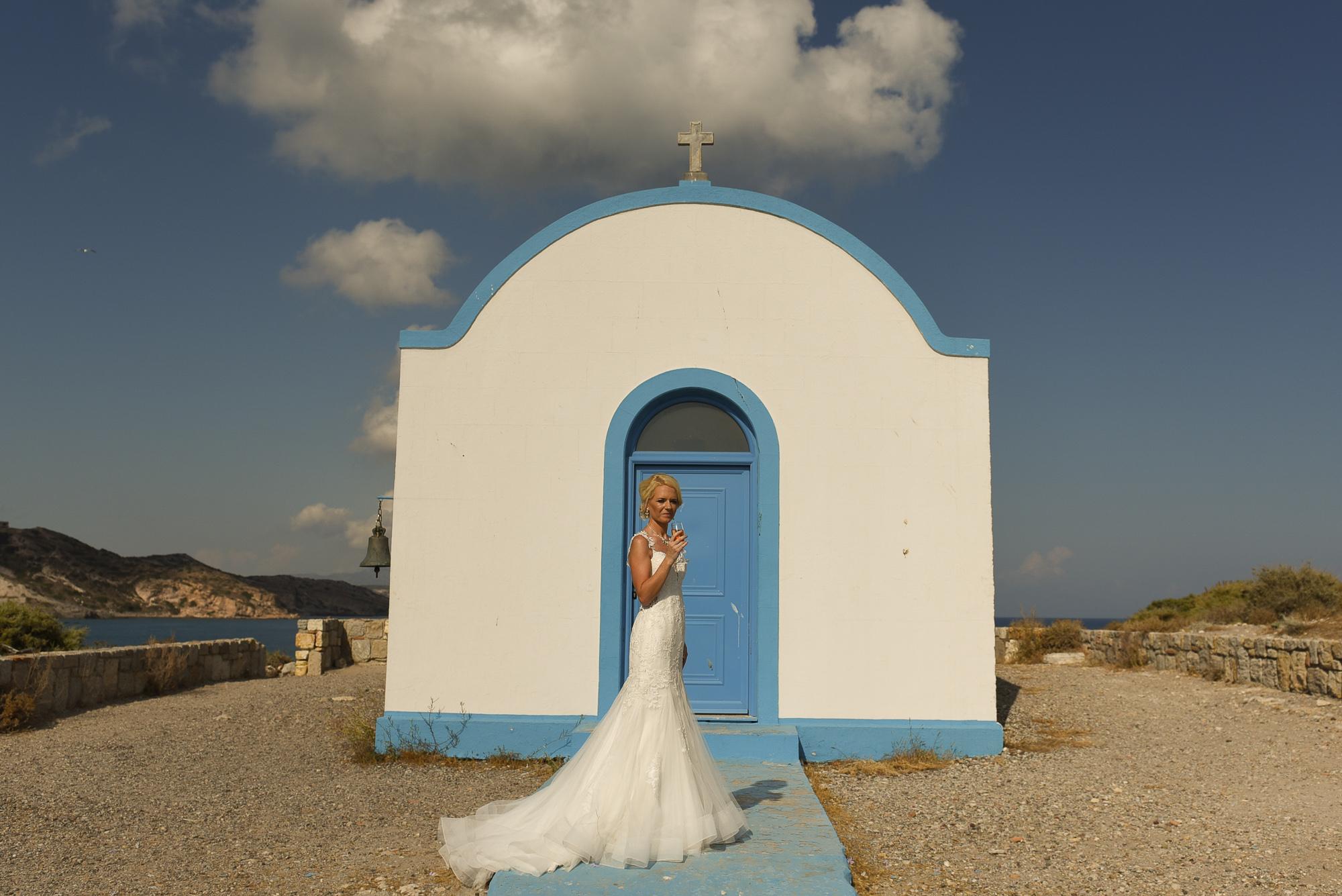 Bride in Greek island